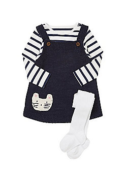 F&F Knitted Pinafore with Striped Bodysuit and Tights - Navy