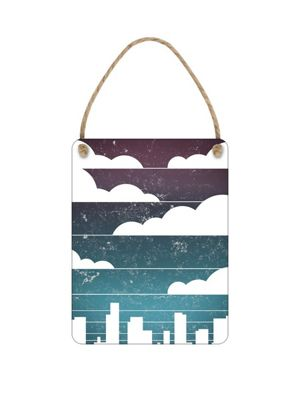 Cityscape With Clouds Mini Hanging Tin Sign 20x15cm