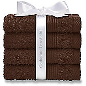 Catherine Lansfield, Chocolate Brown Face Clothes - Pack of Four