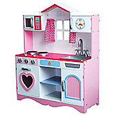Large Girls Wooden Play Kitchen With Free Utensils Toys Children's Role Play Pretend Set Toy (Pink)