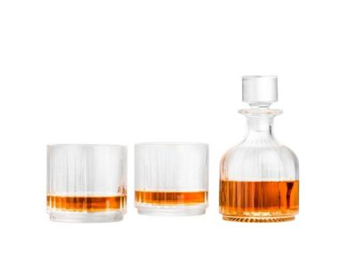 Zilverstad Crystal Whiskey Whisky Decanter Carafe with Two Glass Tumblers Glasses