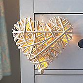 Warm White LED Battery Rattan Heart Light