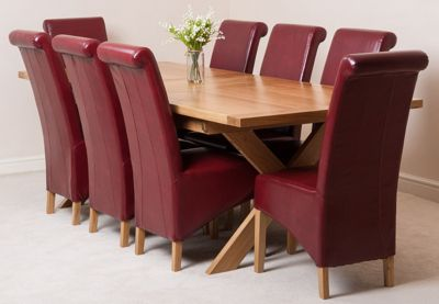 Vermont Solid Oak Extending 200 - 240 cm Dining Table with 8 Red Montana Leather Chairs