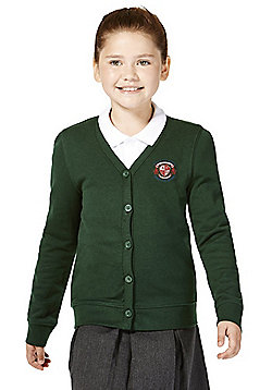 Girls Embroidered Jersey School Cardigan with As New Technology - Green