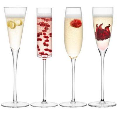 LSA Lulu Set of 4 Champagne Flutes Glasses G1070-00-301