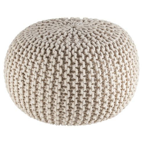 Kaikoo Natural Chunky Knitted Pouffe
