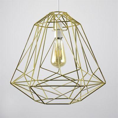 MiniSun Okko Geometric 40cm Non Electric LED Basket Shade - Gold - BC B22