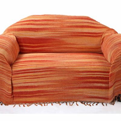 Homescapes Bed Sofa Throw Cotton Chenille Tie Dye Orange, 220 x 240 cm