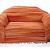 Homescapes Bed Sofa Throw Cotton Chenille Tie Dye Orange, 220 x 240 cm