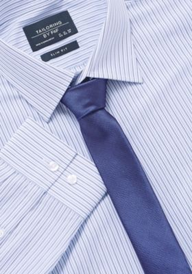 F&F Striped Slim Fit Shirt With Tie Blue 15