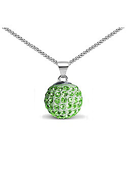 Jewelco London Sterling Silver Crystal Green Solitaire 12mm Pendant - 18 inch Chain