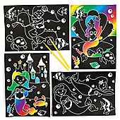 Mermaid Scratch Art Scenes for Children to Design Make and Display - Creative Picture Craft Set for Kids (Pack of 6)