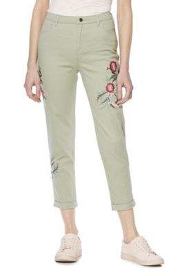 F&F Embroidered Skinny Ankle Grazer Trousers Khaki 22 Regular leg