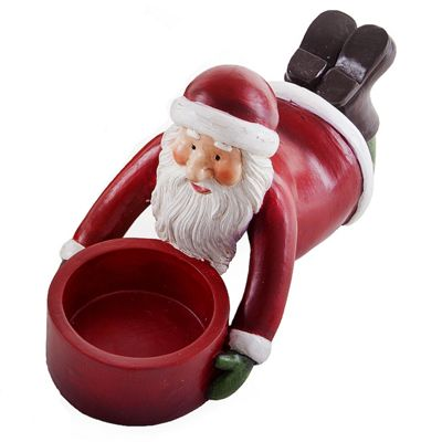 Cheerful Laying Father Christmas Tealight Candle Holder