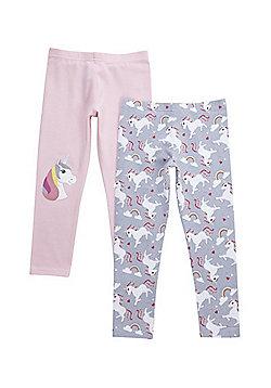 F&F 2 Pack of Unicorn Leggings - Pink/Grey