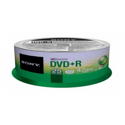 Sony DVD+R 16x 25 recordable storage 25-pack