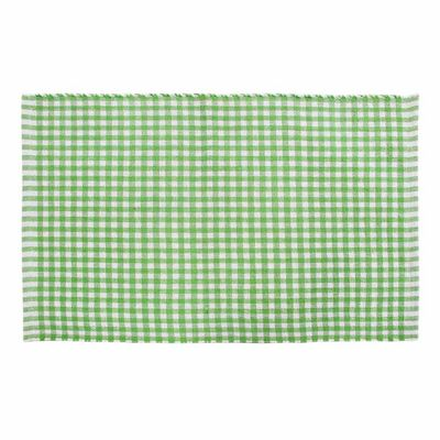 Homescapes Cotton Gingham Check Rug Hand Woven Green White, 60 x 90 cm