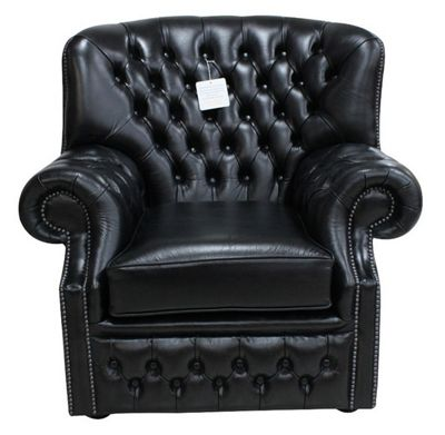 Chesterfield Monks Armchair Old English Black Leather