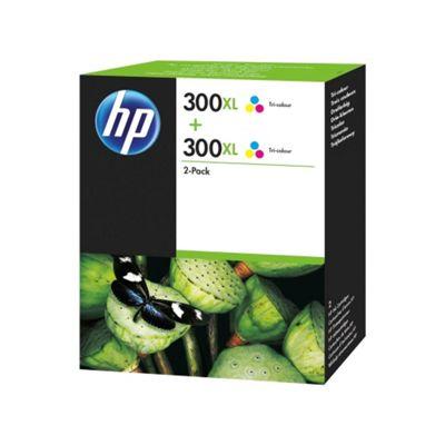 Original HP No.301XL tri-colour printer ink cartridge twin pack - (D8J46AE)