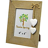 Nicola Spring Driftwood Photo Picture Frame With White Hearts - 4 x 6""