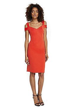 Wallis Cold Shoulder Dress - Coral