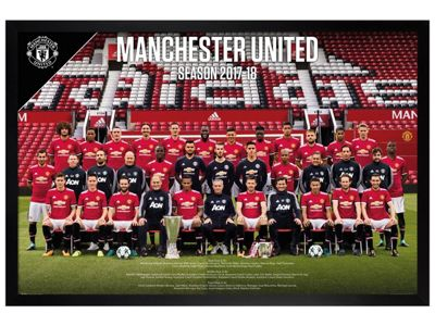 Manchester United FC Black Wooden Framed Team Photo 17-18 Poster