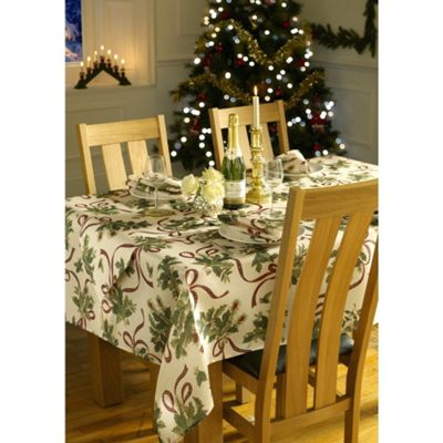 Christmas Holly Ribbon Oblong Tablecloth - 60x90in