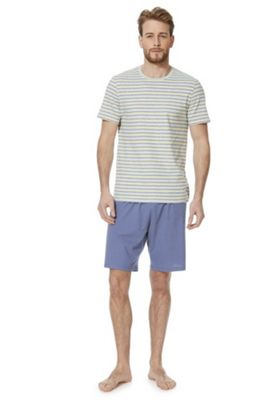 F&F Stripe Short Sleeve Top and Shorts Loungewear Set Multi XL
