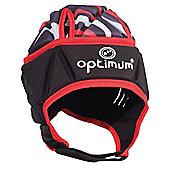 Optimum Razor Kids Rugby Headguard Scrum Cap Black/Red - Large Boys