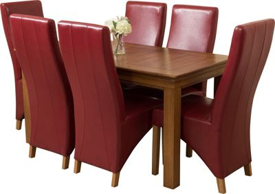 French Chateau Rustic Solid Oak 150 cm Dining Table with 6 Red Lola Leather Chairs