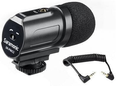 Saramonic SR-PMIC2 Mini Stereo Condenser Microphone with Low-Cut Filter & Battery-Free Operation for DSLR & Camcorders