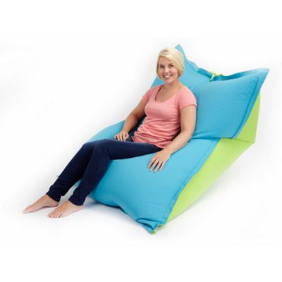 Loft 25 Large Water Resistant 2 Tone Bean Bag Slab - Turquoise / Lime