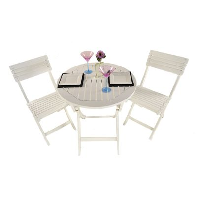 Painted Wooden 2 Seater Round Folding Bistro Set White - Outdoor/Garden table and Chair set.