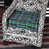 Homescapes Black Watch Tartan Design Cotton Armchair Booster Cushion