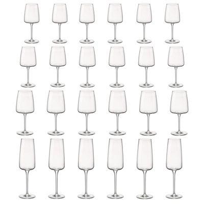 Bormioli Rocco Planeo Clear Champagne Flutes & 380ml Wine Glasses - Set of 12