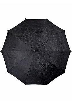 Queen of Darkness With Spiderweb Print Black Umbrella - Black