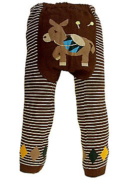 Dotty Fish Knitted Baby Leggings - Brown Stripes with Little Donkey - Brown