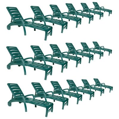 Resol Ibiza Plastic Home Garden Adjustable Reclining Sun Lounger - Green - Pack of 18