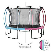 Plum 12ft Colours Springsafe Trampoline & Enclosure - Flamingo Pink & Tropic Turquoise