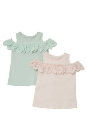 F&F 2 Pack of Broderie Anglaise Cold Shoulder Tops Pink/Mint 12-18 months