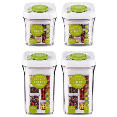 Pump Fresh Storage Canisters 4 Piece Set, White and Green