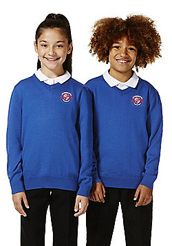 Unisex Embroidered V-Neck School Jumper with Wool - Bright royal blue
