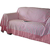 Homescapes Cotton Gingham Check Pink Throw, 225 x 255 cm