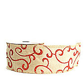 Ribbon Wired Edge - 2.5inchrs x 10y - Hessian & Red Glitter