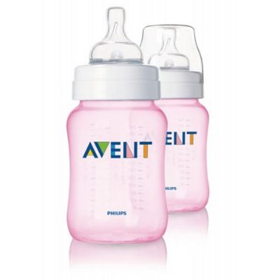 Philips Avent Classic+ Feeding Anti-Colic Bottle 260ml/9oz Twin Pink SCF564/27