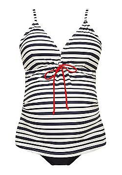 Mamalicious Striped Maternity Tankini Top - Navy Multi