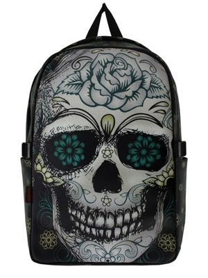 Jawbreaker Flower Skull Black Backpack