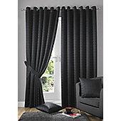 Alan Symonds Madison Black Eyelet Curtains - 90x108 Inches (229x274cm)