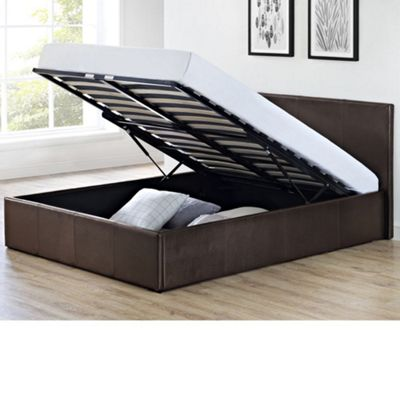 Happy Beds Cosmo Faux Leather Ottoman Storage Bed - Brown - 4ft6 Double