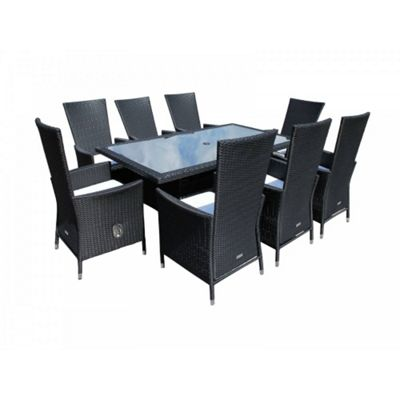 Cambridge 8 Reclining Chairs And Large Rectangular Table Set in Black and Vanilla